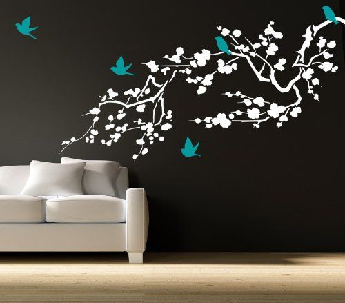 Cherry Lvp Accent Wall: Large Cherry Blossom Branch Left Facing Vinyl