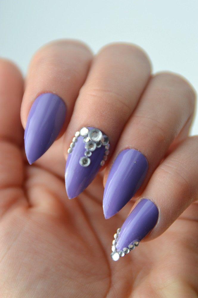 Purple Stiletto Nails, Diamonds Nails, Stick On Nails