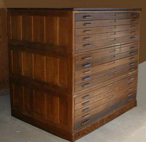 Flat File Cabinet Antique Wood Art Plan Map Blueprint