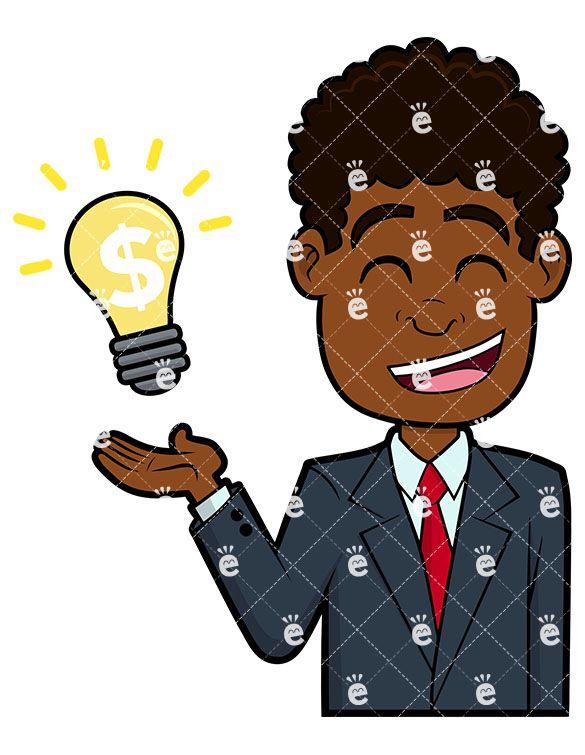 Black Business Man Pointing Side Vector Cartoon Clipart - FriendlyStock