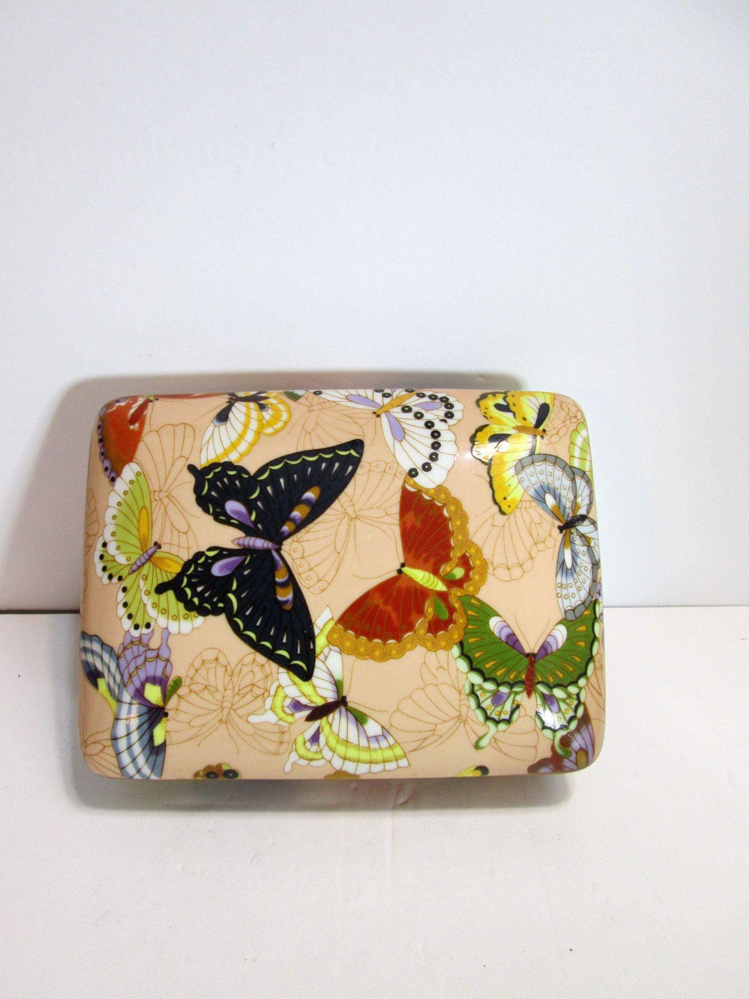 Vintage Neiman-Marcus Porcelain Butterfly Trinket Box