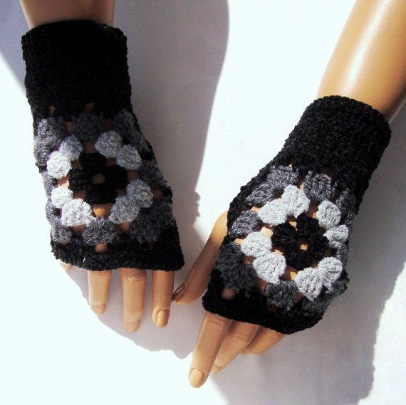 Hand Crochet Black Gray Afgan Gloves Mitten Fingerless ♥ by Pasin, $32.00