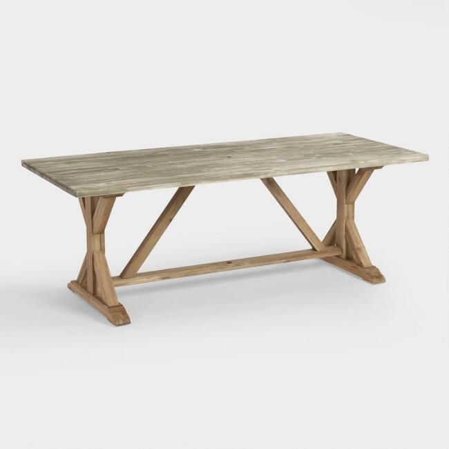 Two Tone Wood San Remo Outdoor Trestle Dining Table World Market