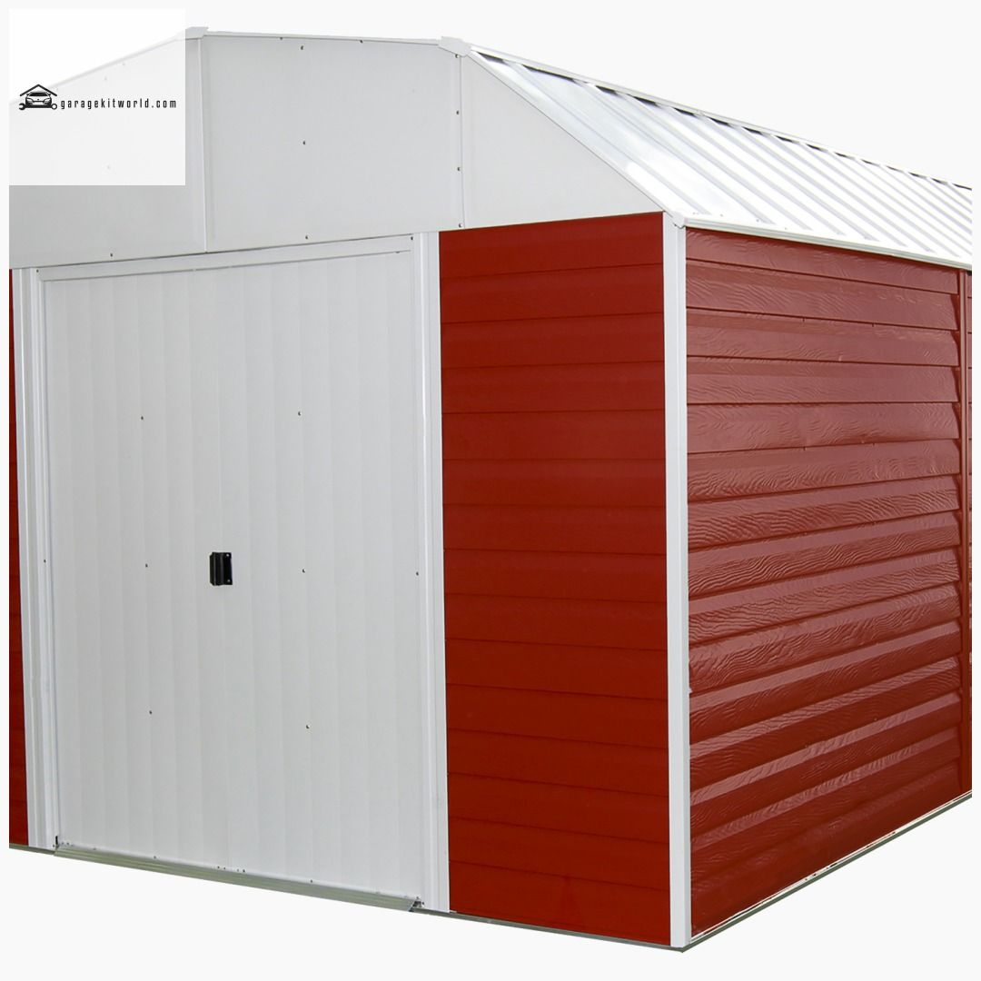 Red Barn 10 x 14 ft. Red/Eggshell Steel Storage Shed