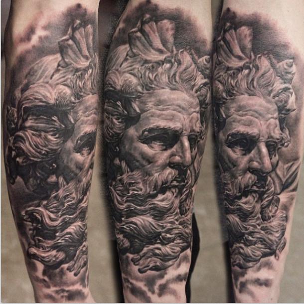 Black And Grey Poseidon Real Tattoo Half Sleeve First