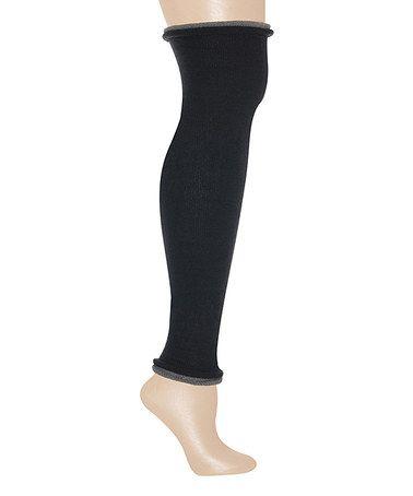Loving this Black & Gray Rolled Hem Leg Warmers on #zulily! #zulilyfinds