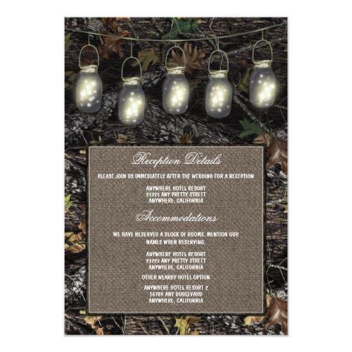 Mason Jar Camo Wedding Reception Enclosure Cards
