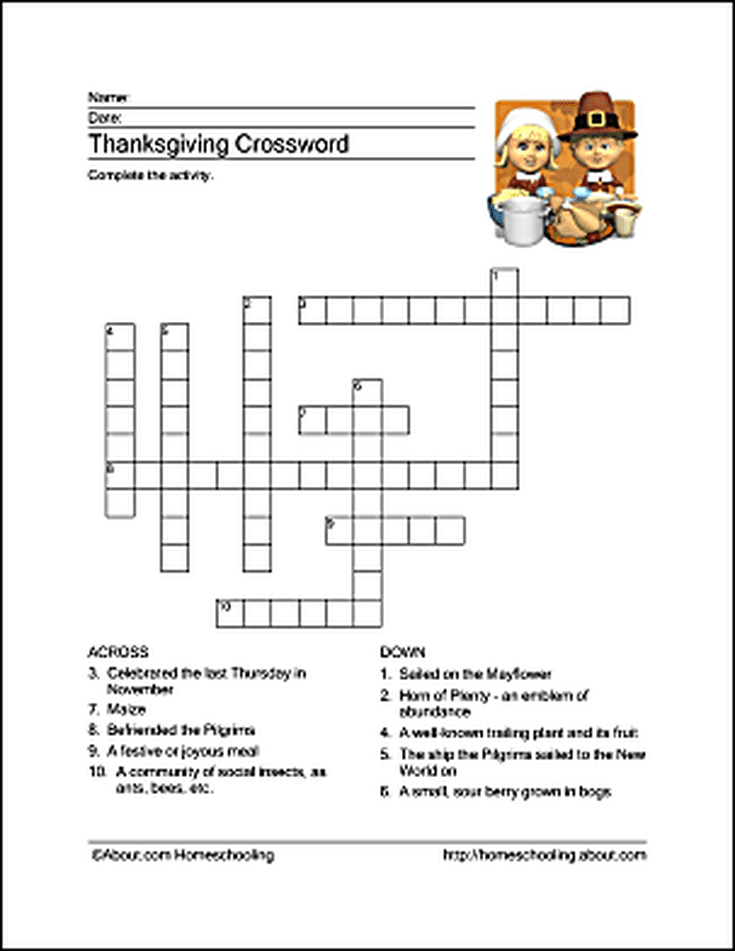 picture about Thanksgiving Crossword Puzzle Printable identified as Thanksgiving Wordsearch, Crossword Puzzle, and A lot more