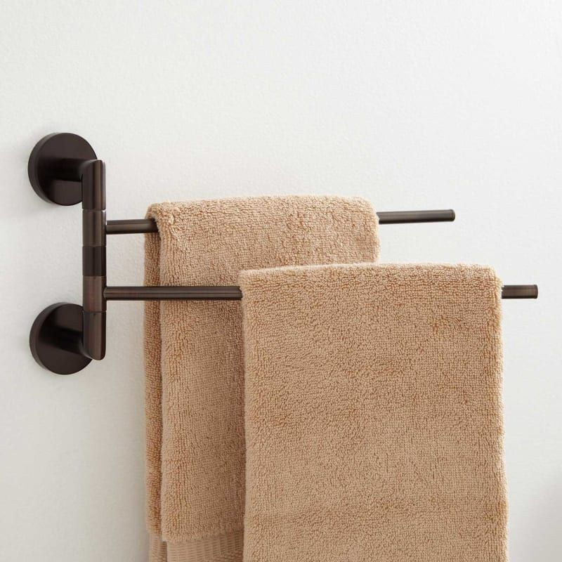 Signature Hardware 353723 Oil Rubbed Bronze Colvin 12 1 8 Brass Towel Rack In 2020 Towel Bar Double Swing Oil Rubbed Bronze Bathroom