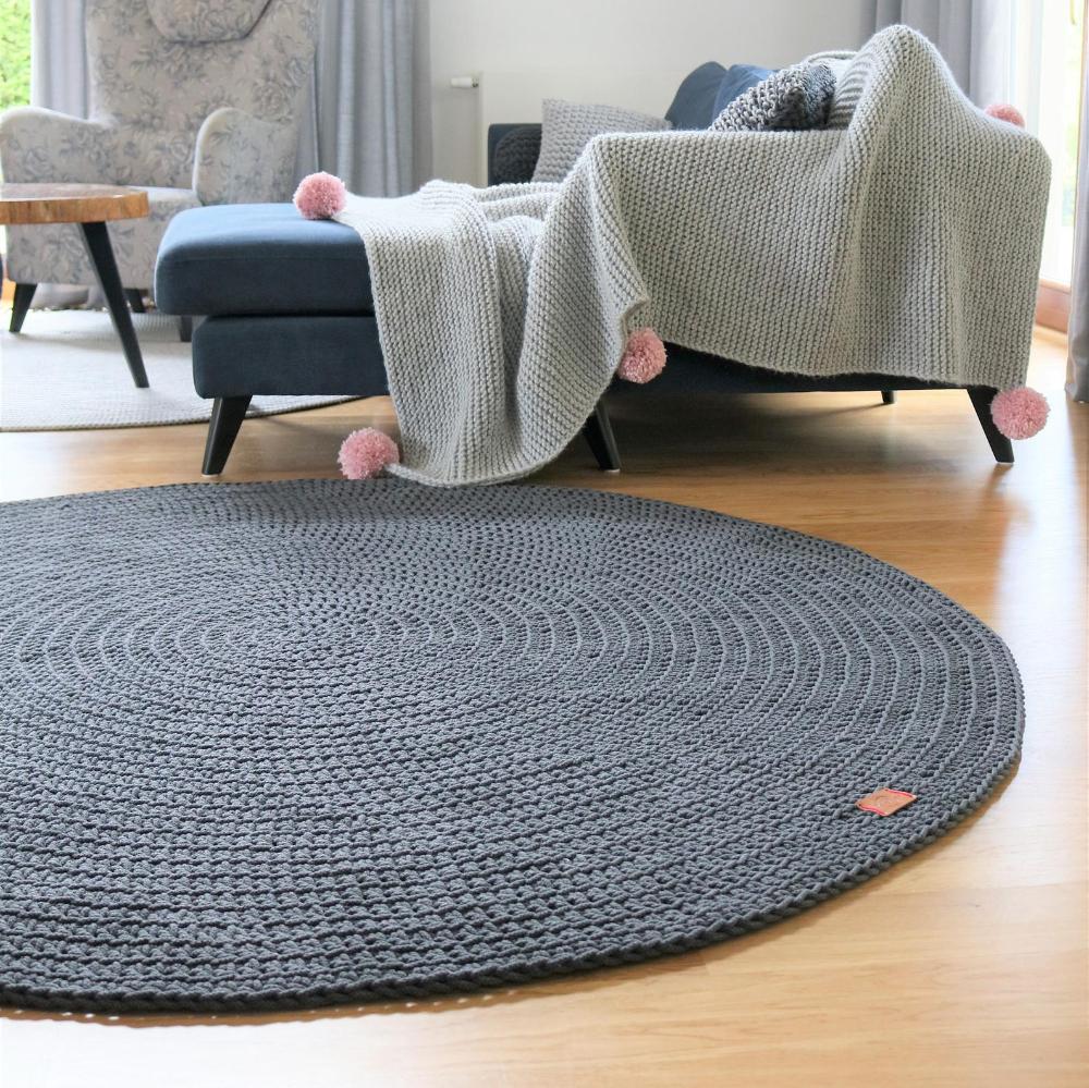 Modern Dark Gray Round Rug Round Area Rug Nursery Rug Skandinavische Teppich Rund Alfombra Trapillo Modern Enfant Large Crochet Floor Rug In 2020 Grey Round Rug Floor Rugs Round Rugs
