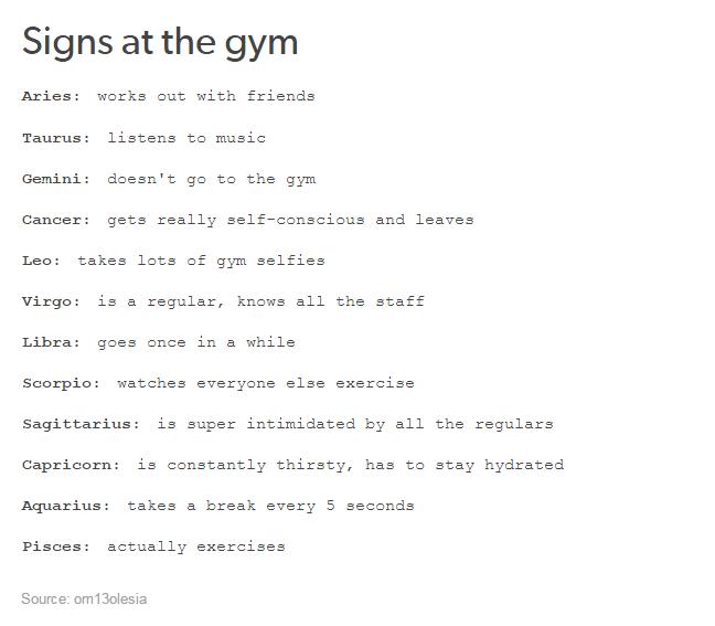 The Signs At The Gym Zodiac Sign Traits Zodiac Signs Aquarius Zodiac Signs Funny