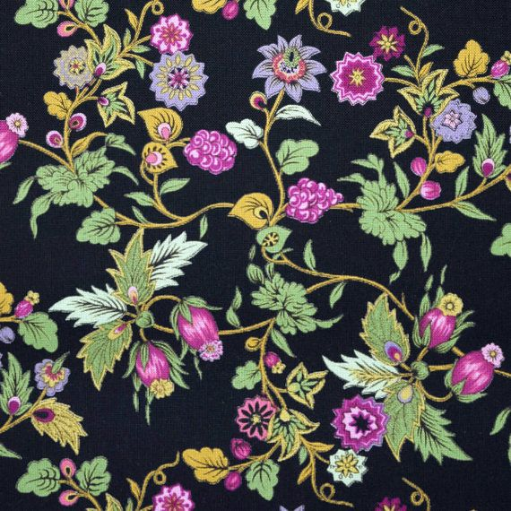 Quilt Patterns With Floral Fabric : Cotton Quilt Fabric small print floral bright colours on black background By the yard - yardage ...