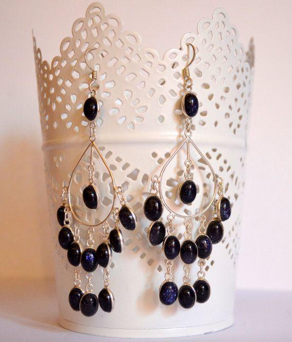 Orecchini chandelier in argento 925 e lapislazzuli