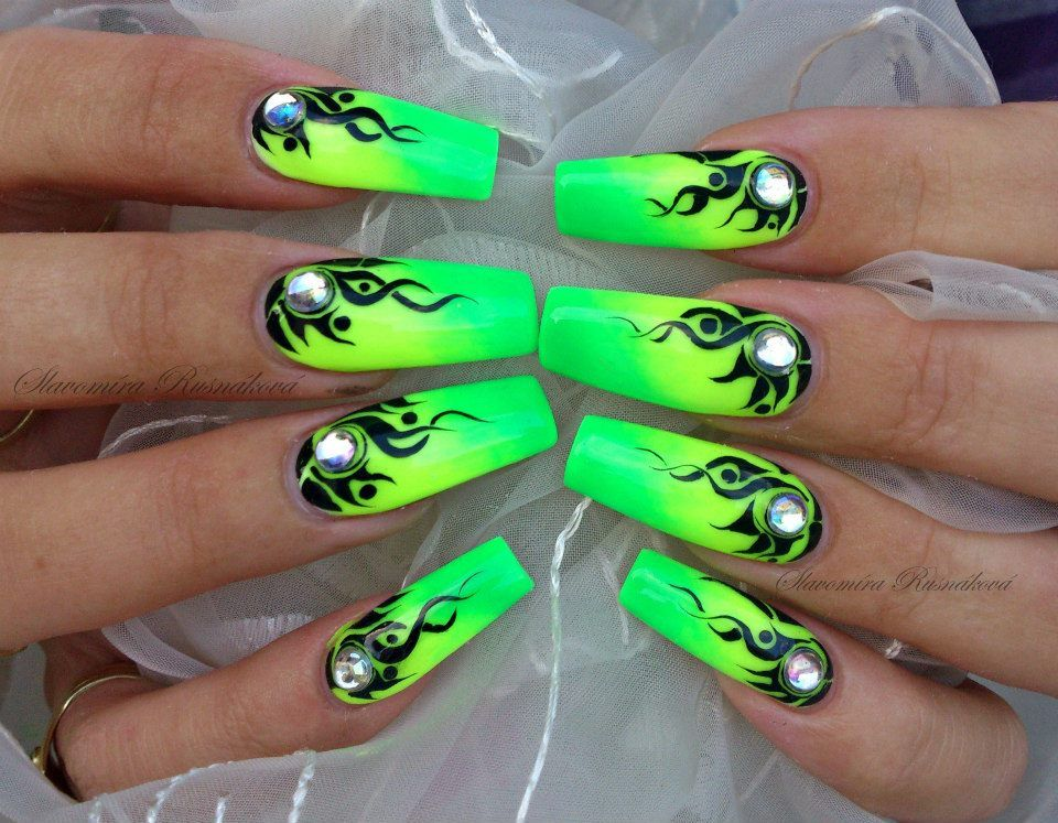 Neon Ombre Coffin Nails With Black Flames And Gems Neon Green Nails Green Nails Gem Nails
