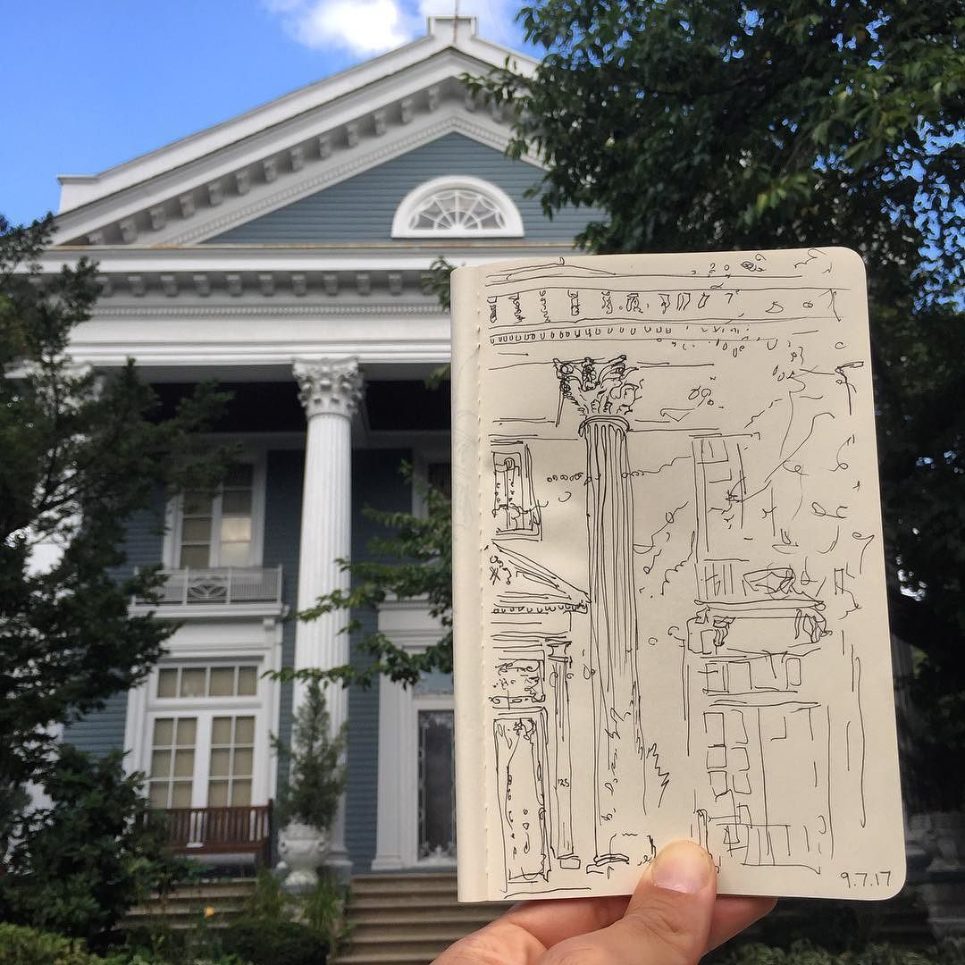 9 7 17 Lunchtime Drawing Yes This Is Brooklyn An Americanized Roman Temple As Seen Through Renaissance Eyes At 125 Buckingham Road Built 1911 In Prospect P