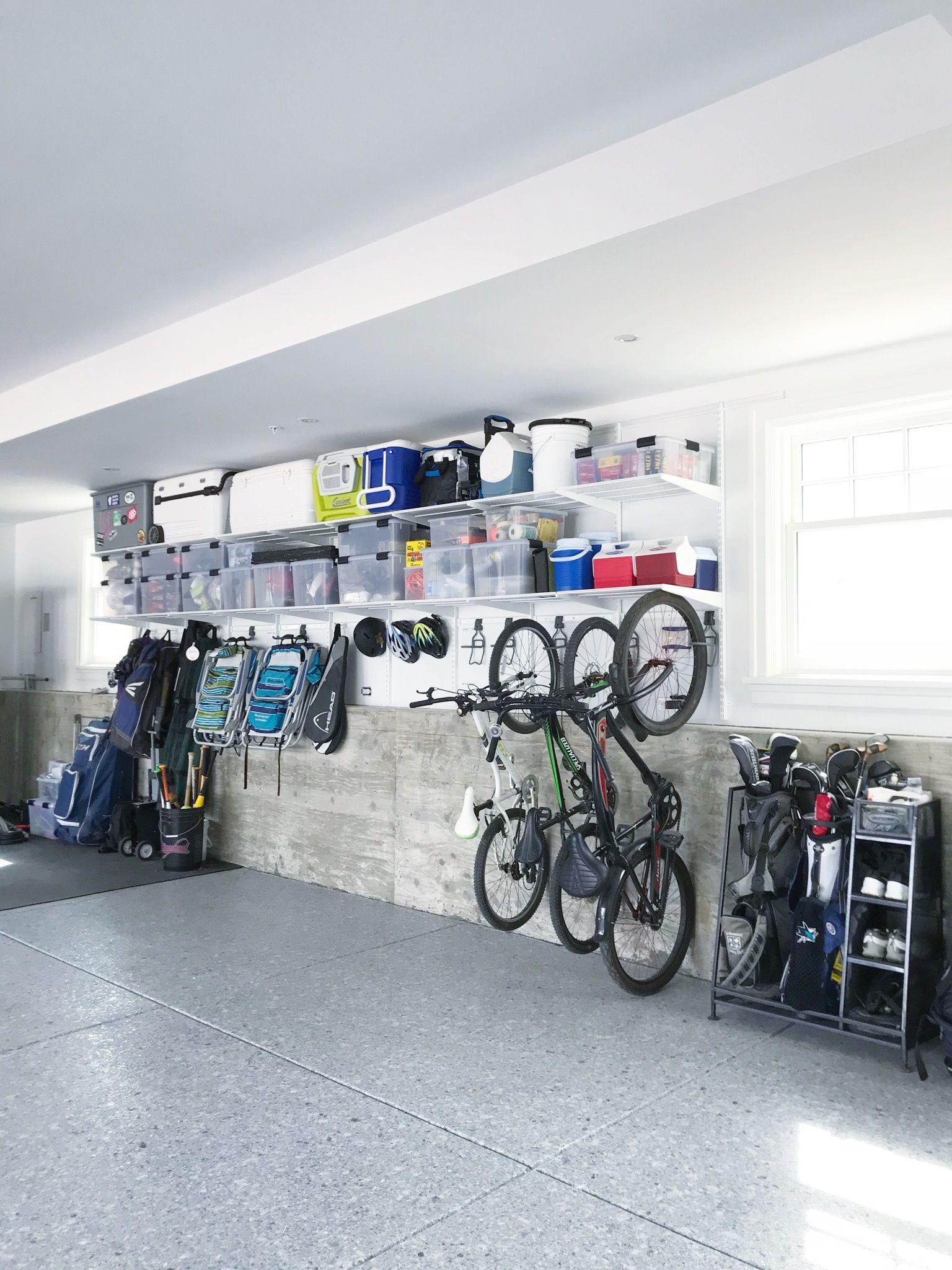 This Is The Most Beautiful Garage Light Bright New Shelving Wide Open And To Be In 2020 Garage Organization Garage Storage Organization Garage Organization Tips