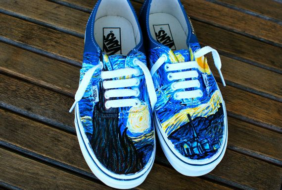 41259ba392c Hand Painted Starry Night Navy Vans Authentic - Custom Vincent Van Gogh Starry  Night Vans Sneakers