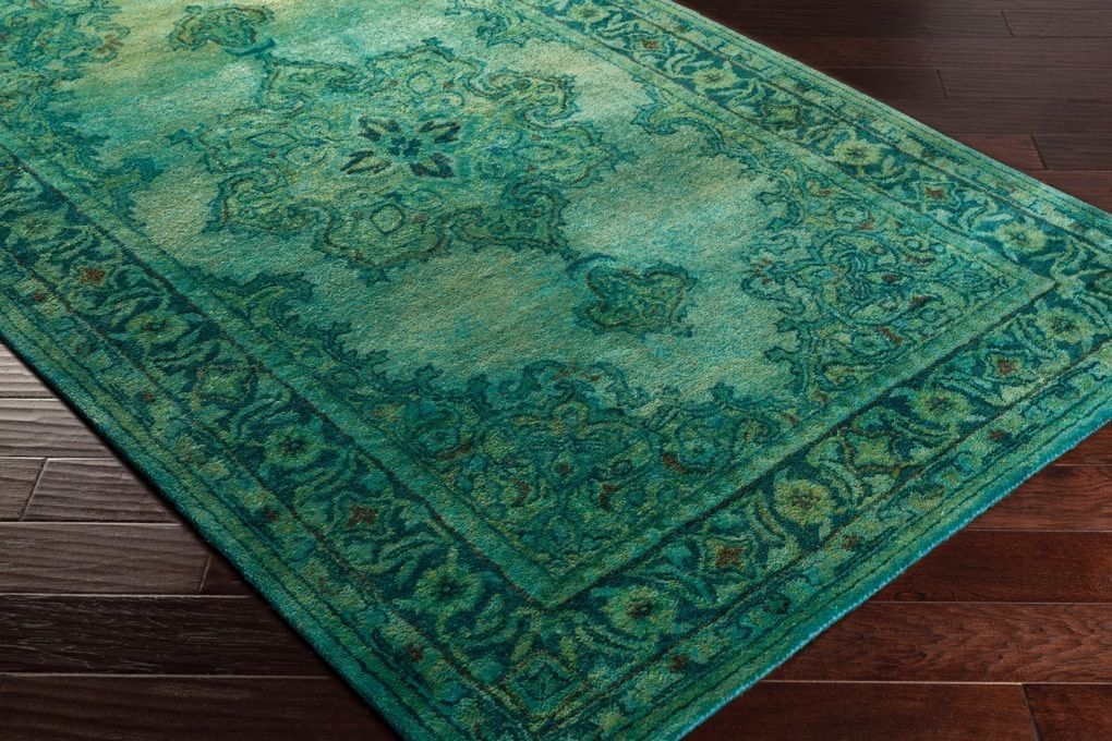 Antique Wash Overdyed Rug In Emerald Green