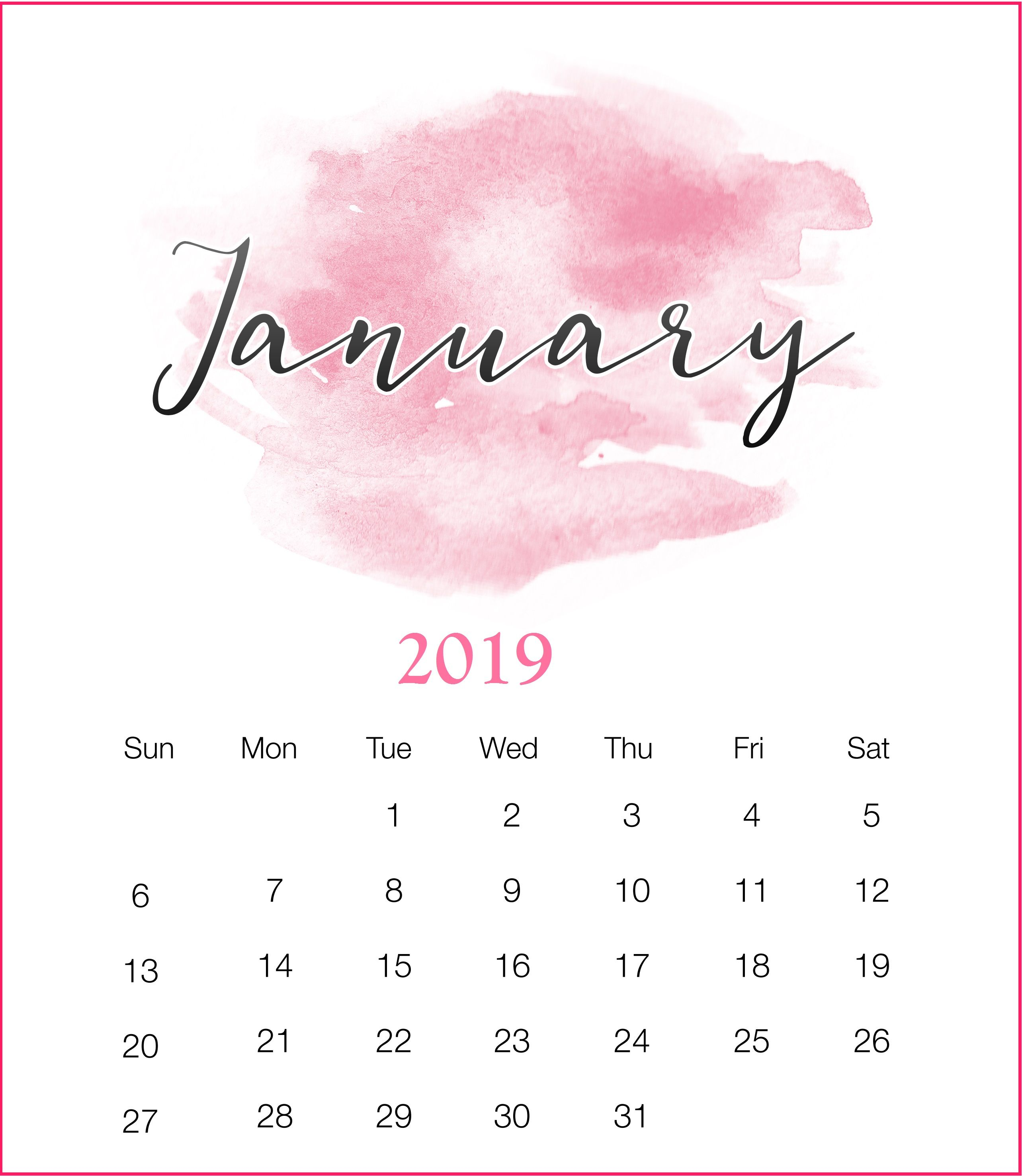 Watercolor 2019 January Printable Calendar January2019 Watercolor