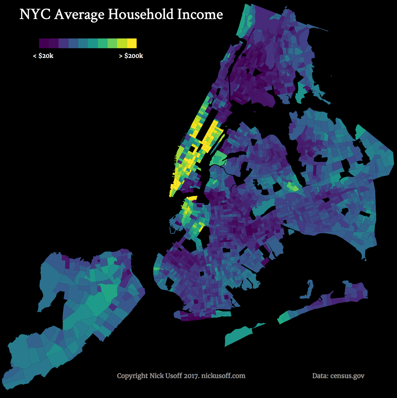 Income Distribution In New York City Vivid Maps Us Geography World Geography City