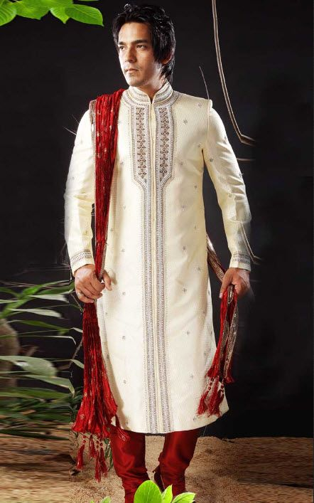 Beige Banarasi Silk Men S Sherwani Style Paired With A Matching Art Silk Bottom Sherwa Indian Groom Wear Wedding Dresses Men Indian Sherwani For Men Wedding