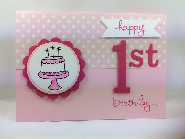Debs Stampin Style 1st Birthday Card Paper Crafts Pinterest