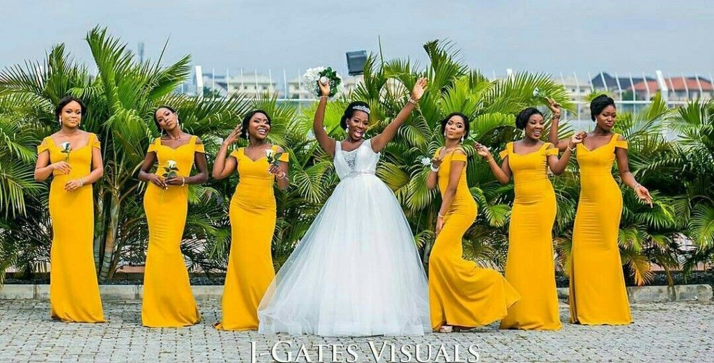 Mustard Yellow Bridesmaids Dresses