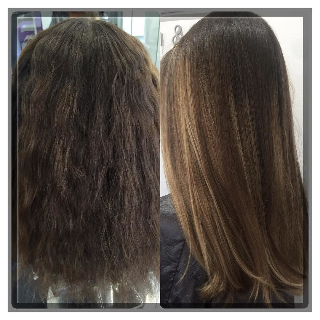 Hair straightening! Before and After Balayage with Olaplex