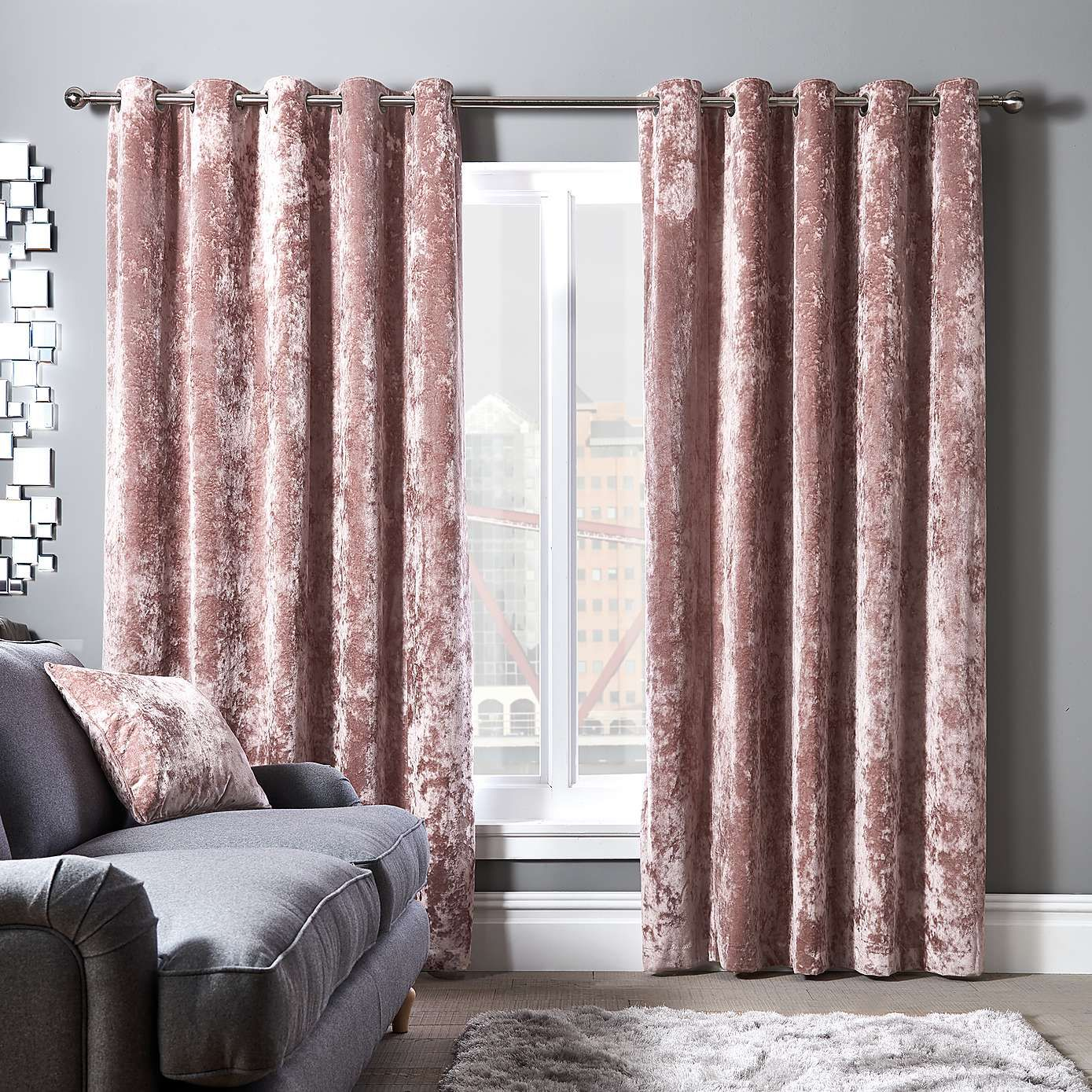 Crushed Velour Blush Eyelet Curtains Gold Curtains Living Room