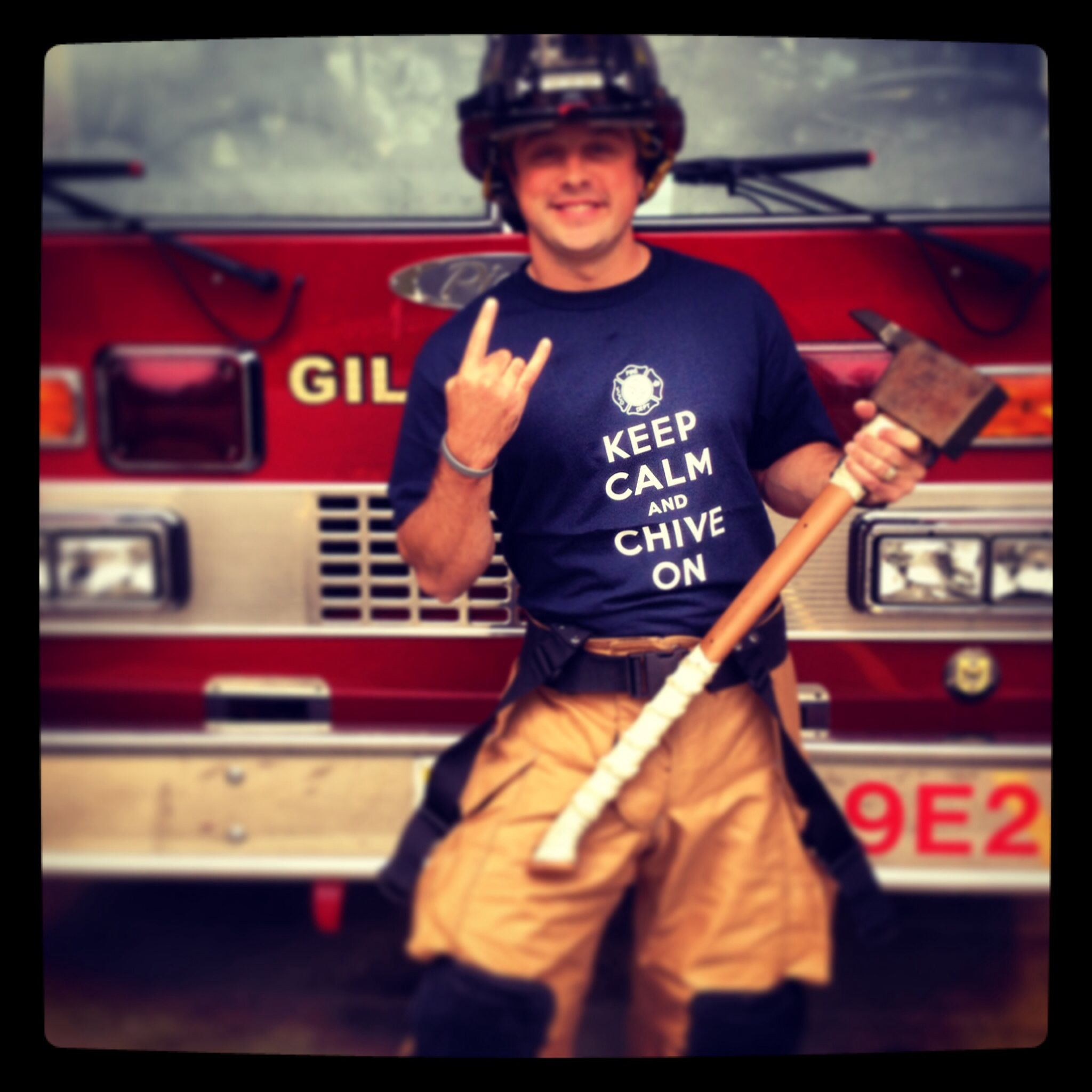 Firefighter, chive shirt kcco