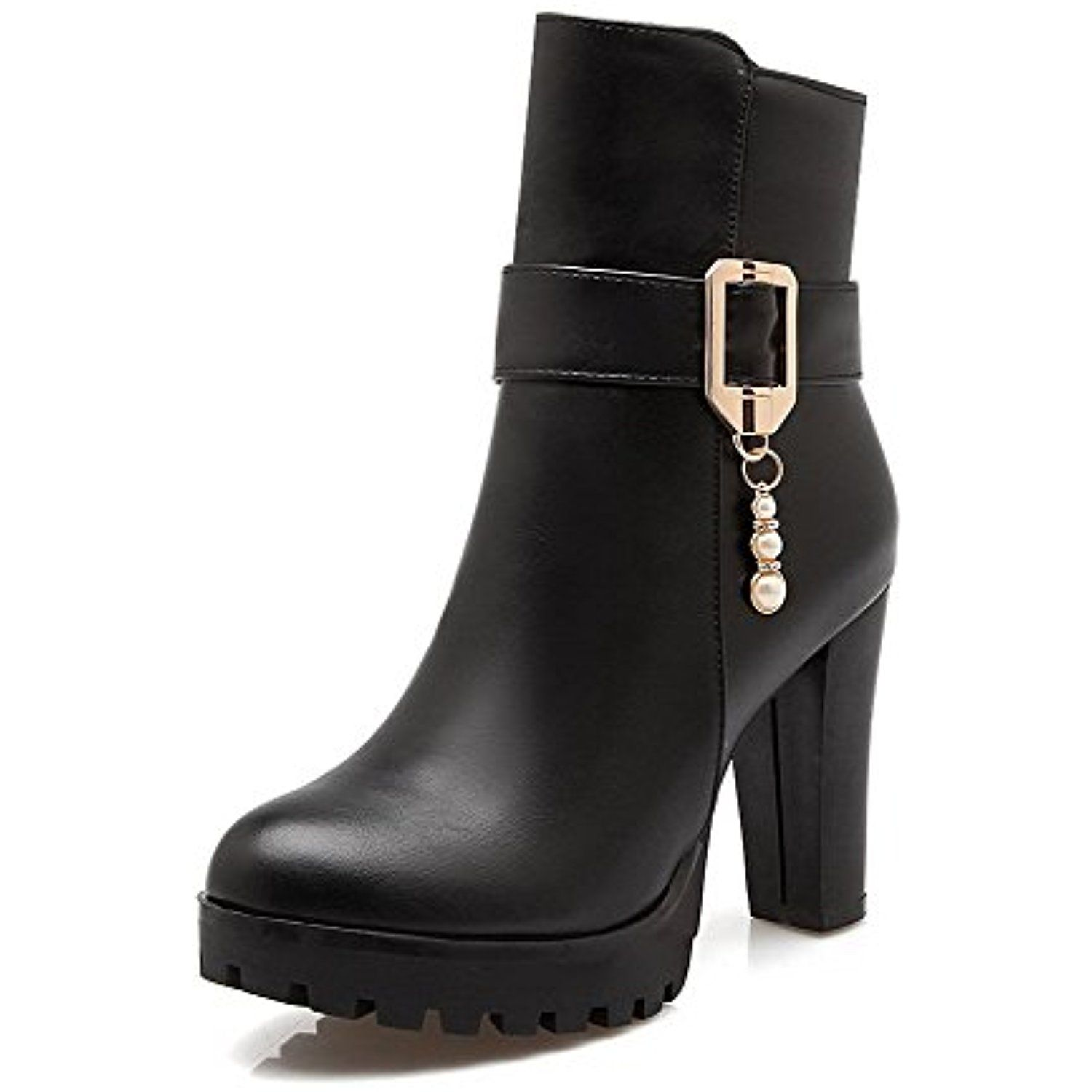 Women's Low-Top Solid Buckle Round Closed Toe High-Heels Boots