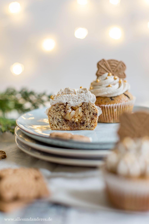 Spekulatius-Cupcakes mit Apfel-Zimt-Füllung #holidaytreats