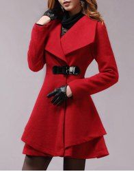 d379999aa311 Solid Color Elegant Style Worsted Long Sleeves Turn-Down Collar Coat For  Women