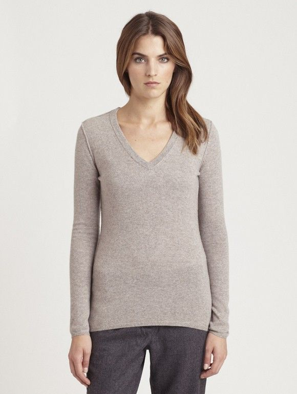 INHABIT Womens Cashmere Basic V-Neck - Desert