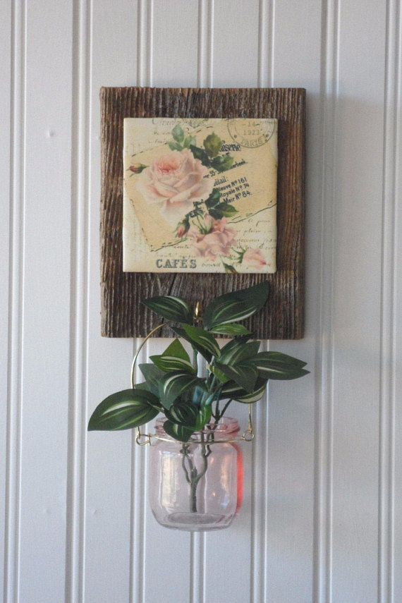 Wall Candle Holdervase Barnwood Decor French Country Wall French