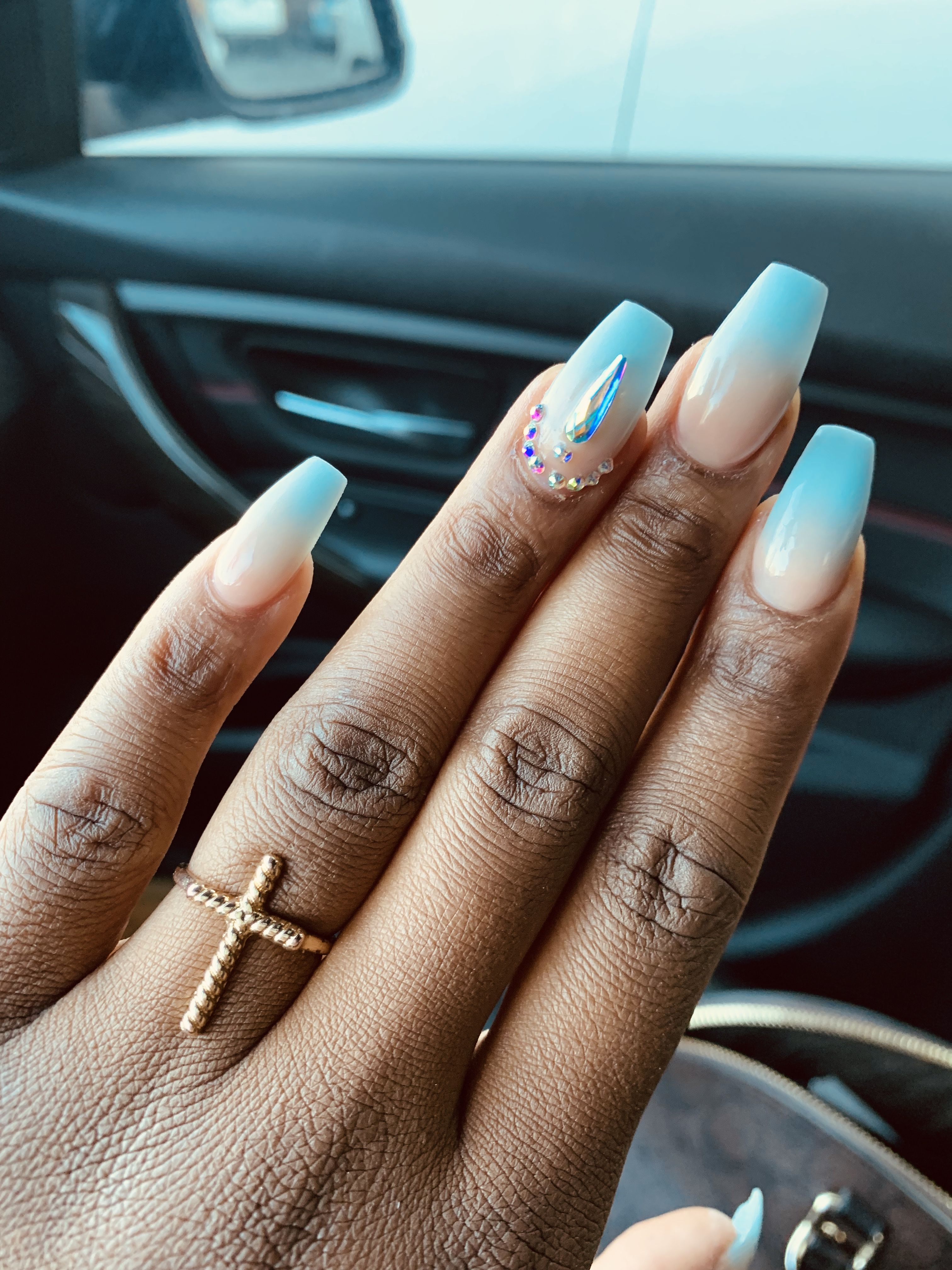 Ombre Blue Nails For Dark Skinned Woman Blue Ombre Nails Best Acrylic Nails Dark Nails