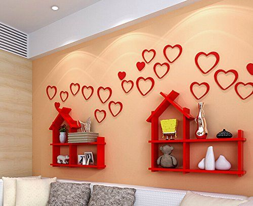 Zjchao Wooden 3D Heart Wall Stickers for Living Room Bedroom DIY ...