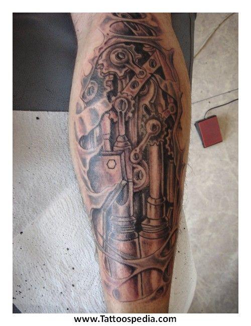 Biomechanical Leg Tattoos With Gears Car Tuning Tattoos