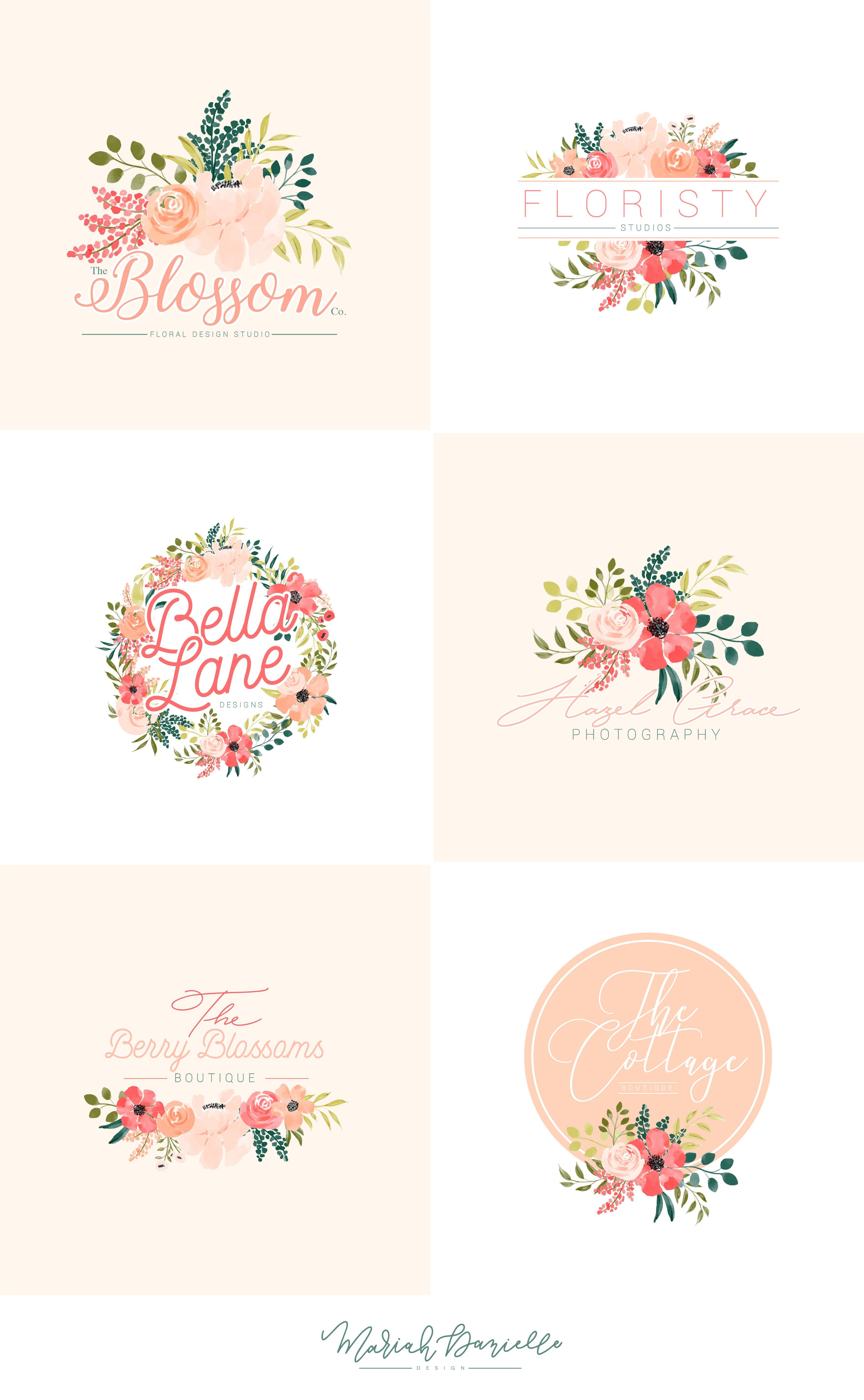 Peach Posey Floral Premade Logos Illustrations Hand Drawn Floral Illustrations Diy Wedding Floral Illustrations Branding Design Logo Logo Illustration