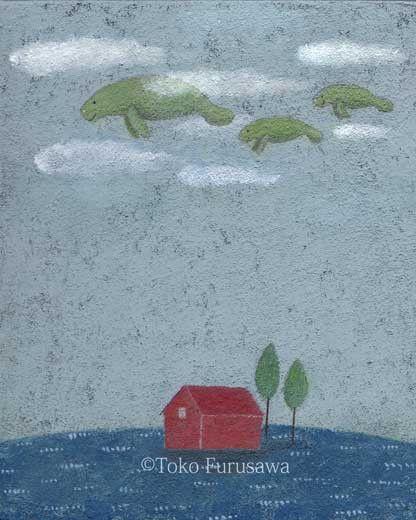 使用画材 : キャンバス、アクリル(原画)サイズ  : F3(273×220mm)ざらりとしたマチエールです。マナティー一家の空のお散歩。今日はど...|ハンドメイド、手作り、手仕事品の通販・販売・購入ならCreema。