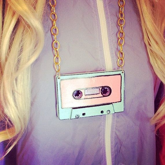 Vintage Cassette tape necklace pendant chunky gold by KagomeCharm, $12.00