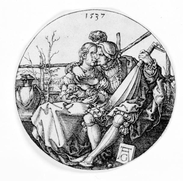 Heinrich Aldegrever, Lautenspieler mit seiner Geliebten, 1537