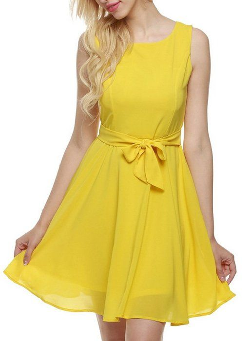 b9e4632d3e OURS Women s Summer Sleeveless Chiffon Pleated Cocktail Party Dress With  Belt (XL