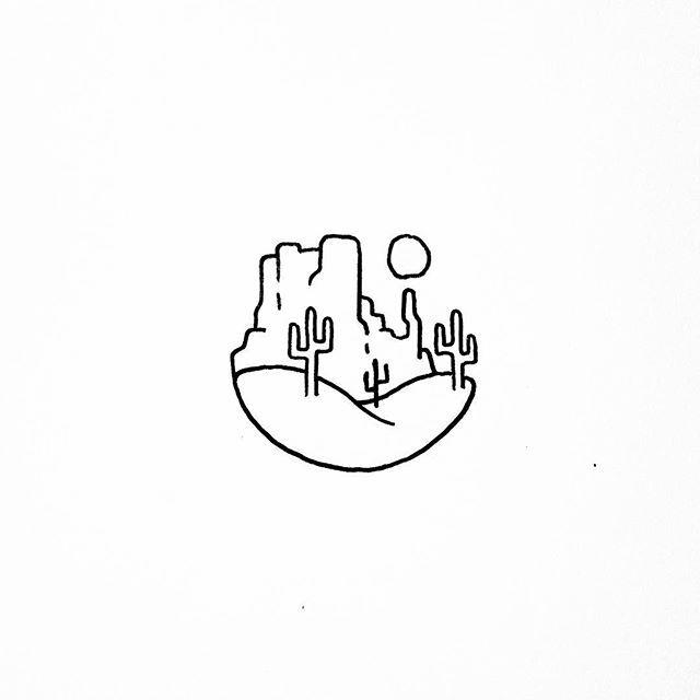 desert minimalist drawing doodle