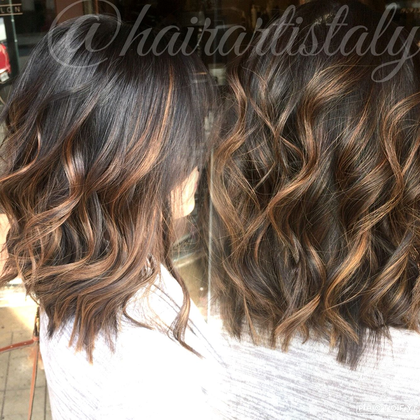 Golden Brown Balayage Long Bob Haircut Hair By Aly Tompkins Mon