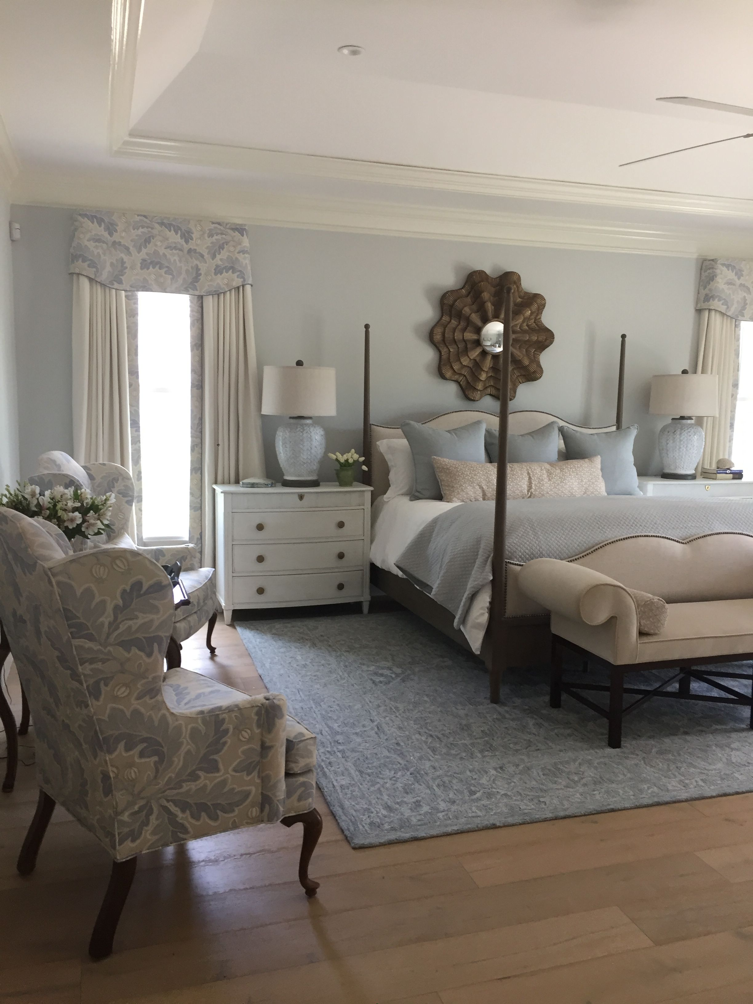 Master bedroom. Soft blues, dark woods. | Blue master ...