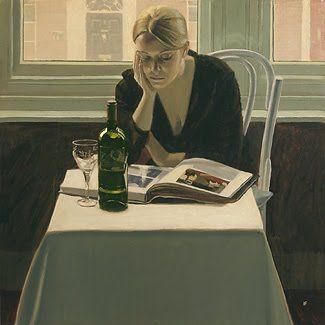 "Art, Painting. Iain Faulkner (On my board ""Book & Reading II"". Irit Volgel).  www.kopgroepbibliotheken.nl"