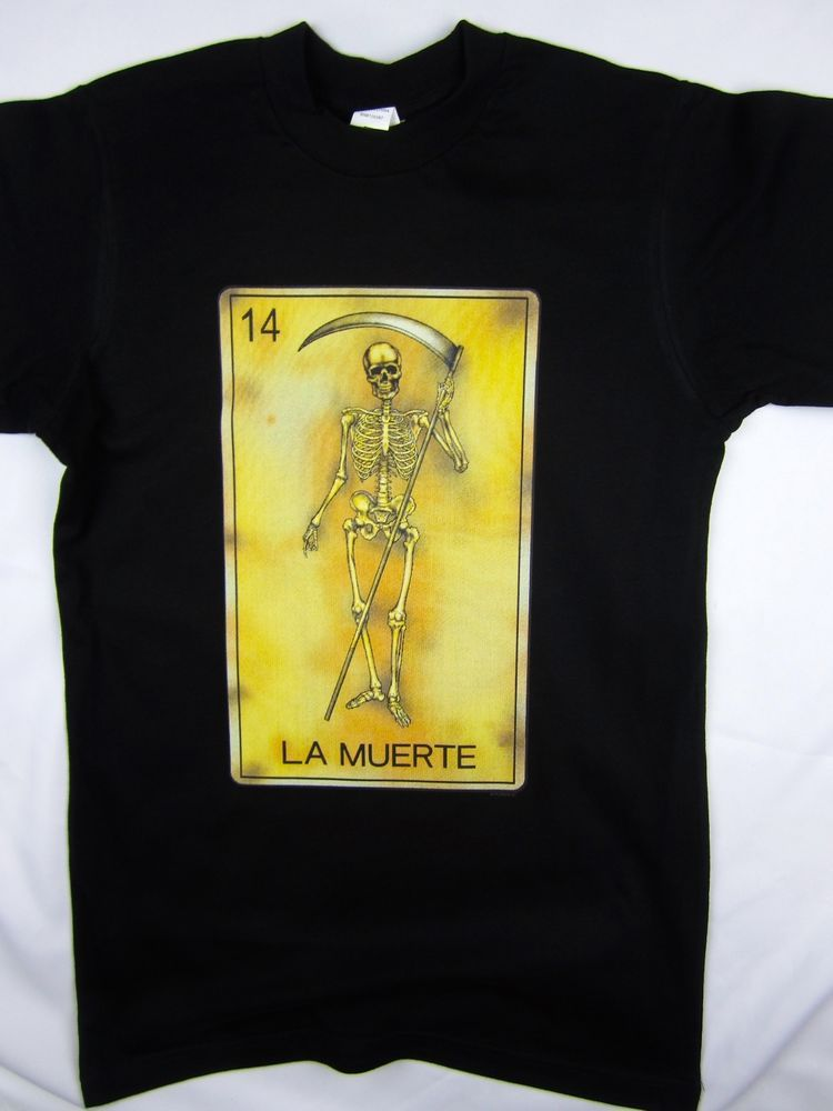 ddcbf518 Loteria Game La Muerte funny mexico black tee men's shirt choose A size  #1StopTrendShop #GraphicTee