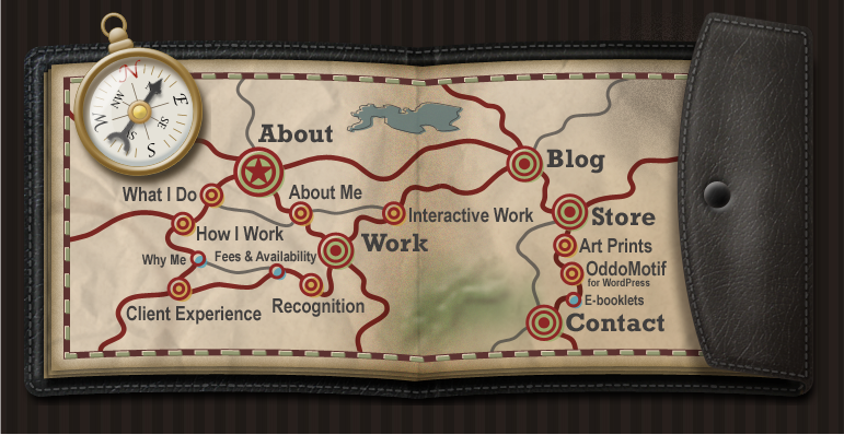 Sitemap I created for my website. Includes a simple Edge-animated compass.