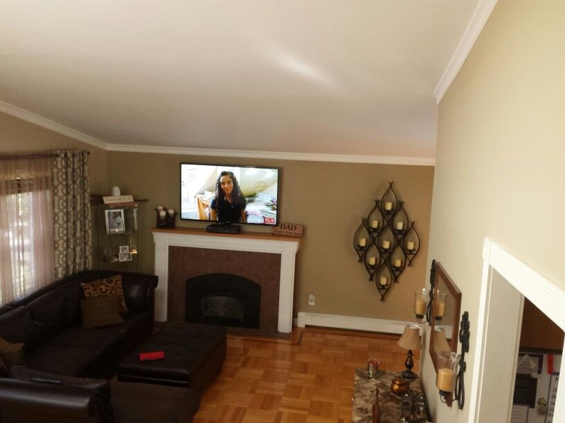 Great Pic To Show The Contrast Of Wall Colors Behr Harvest Brown On Back Fireplace And Gobi Desert Side Walls